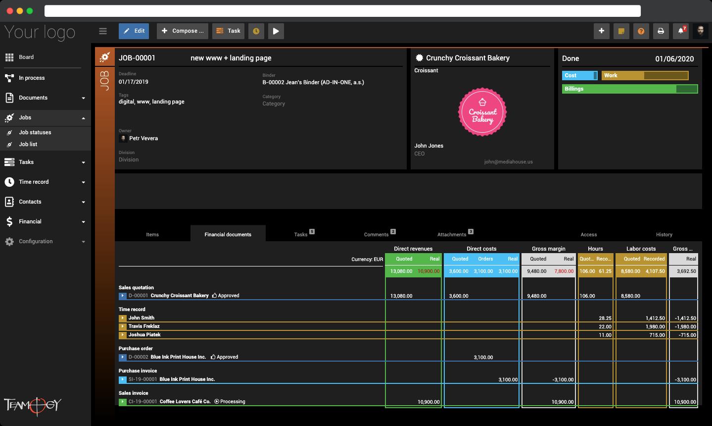 Teamogy Software - Job management