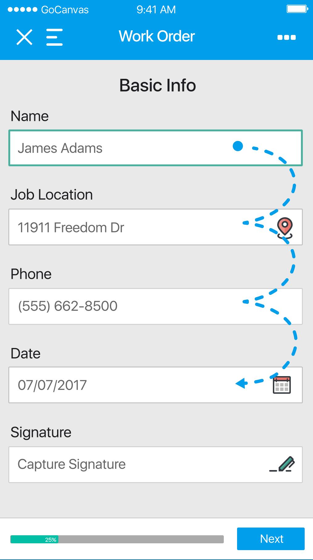 GoCanvas Software - GoCanvas work order basic information