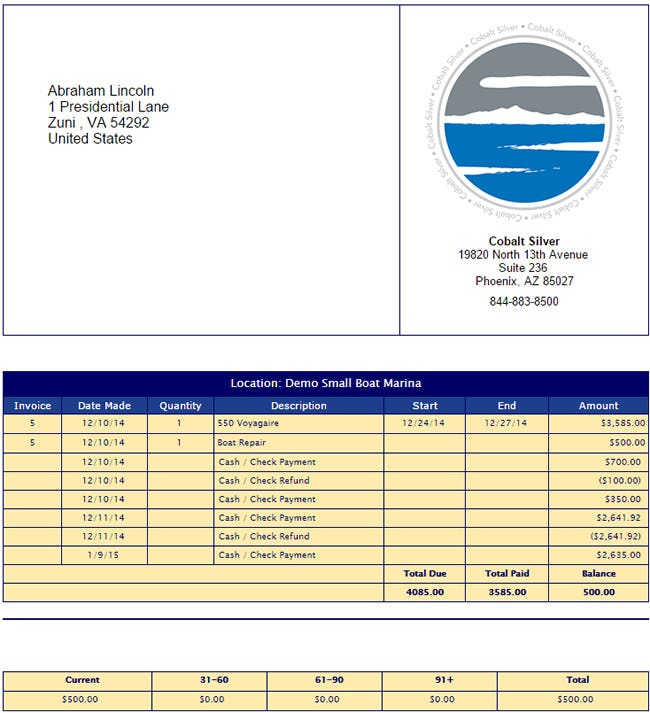 Cobalt Silver Software - Marina invoice