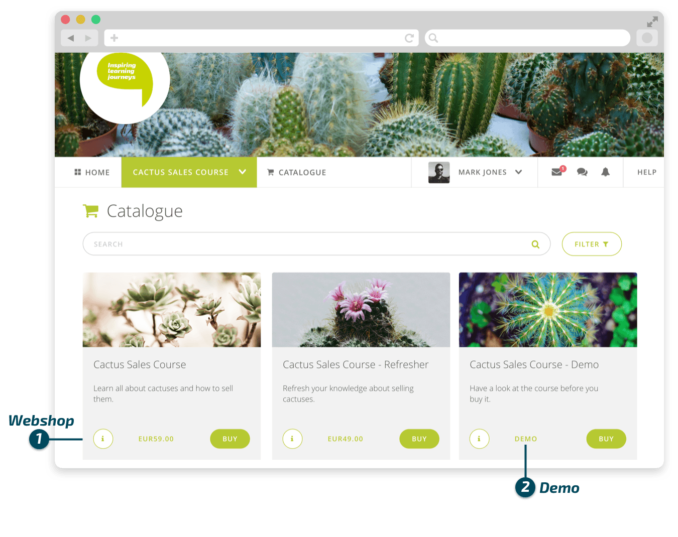 The catalog feature allows organizations to sell their courses online
