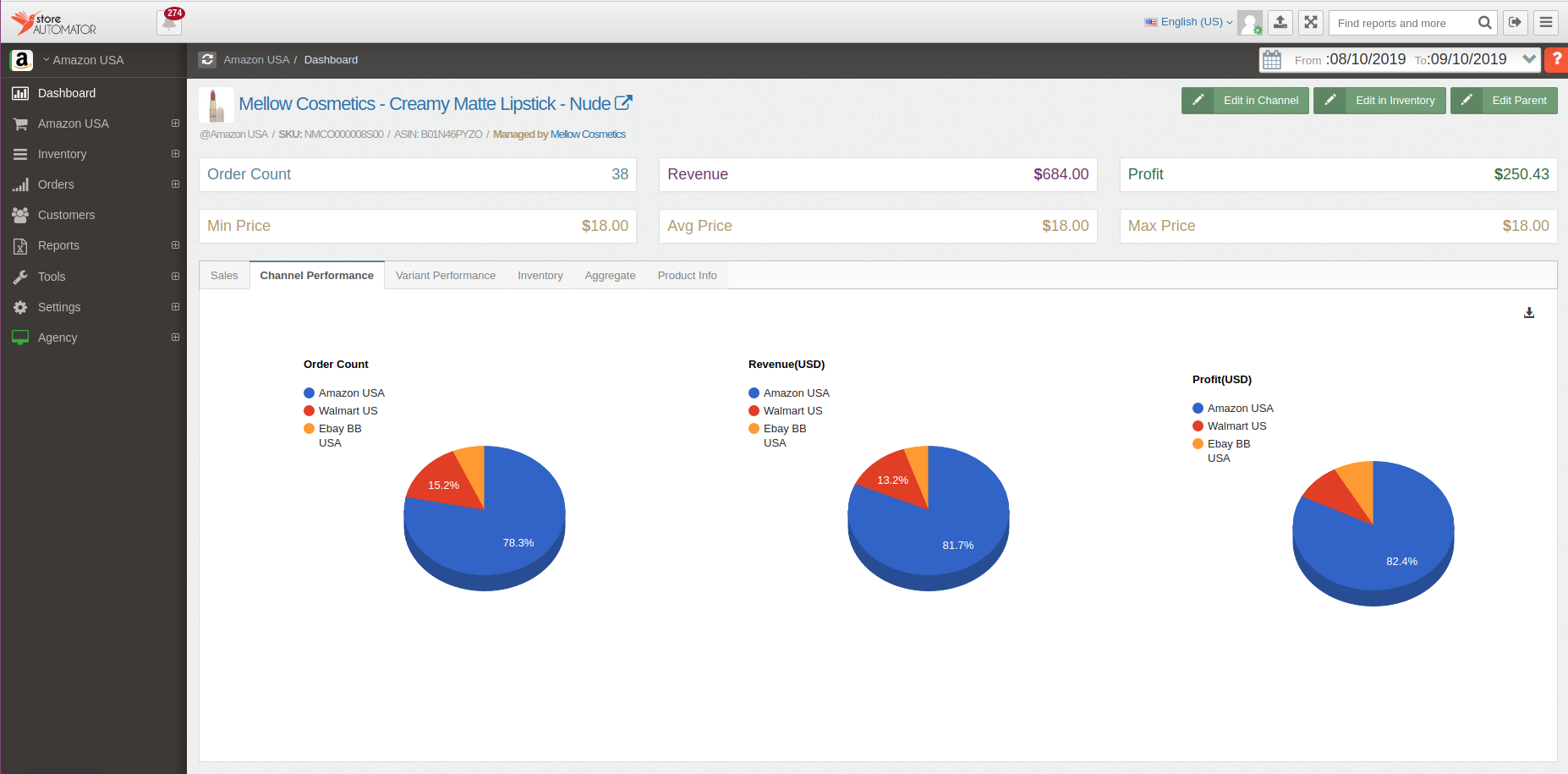 StoreAutomator analytics dashboard