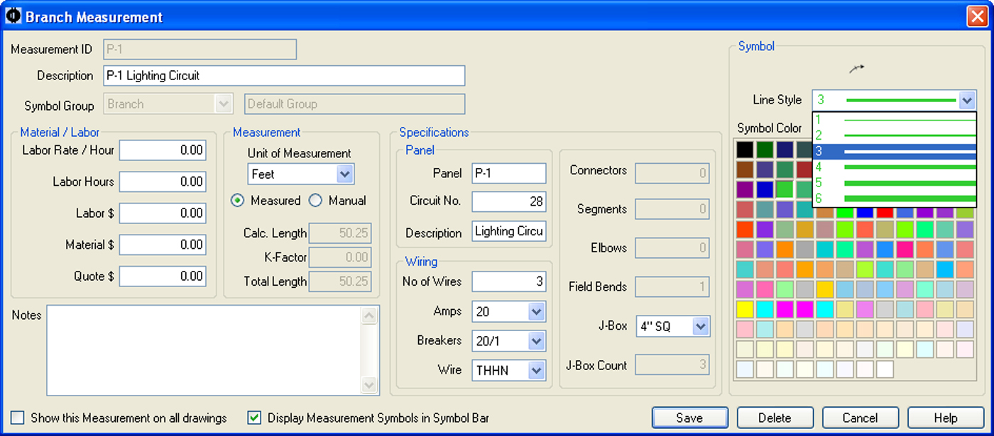 SureCount Software - Branch Measurement Properties Menu