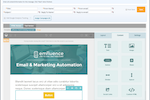 emfluence Marketing Platform Screenshot: The drag and drop email builder adds new layouts, pre-built content blocks, or email components, all with built-in brand colors and responsive template design