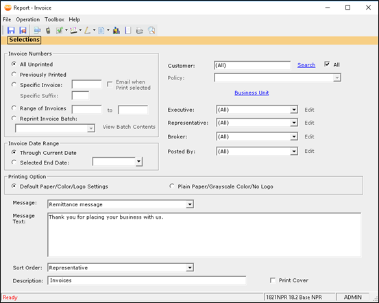 AMS360 invoice reports generation