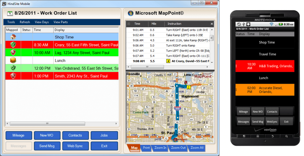 The HindSite Solution Software - Field view: work order list