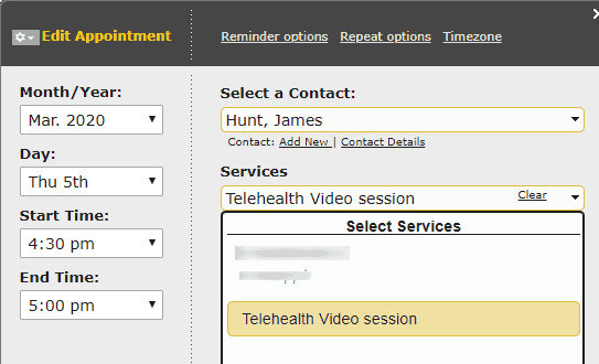 YellowSchedule editing appointment