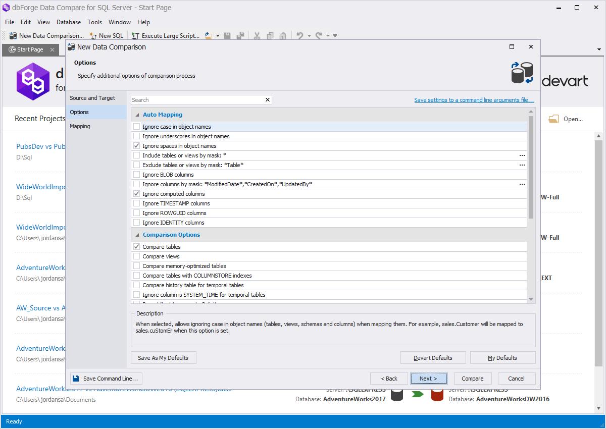 dbForge Data Compare for SQL Server data comparison screenshot