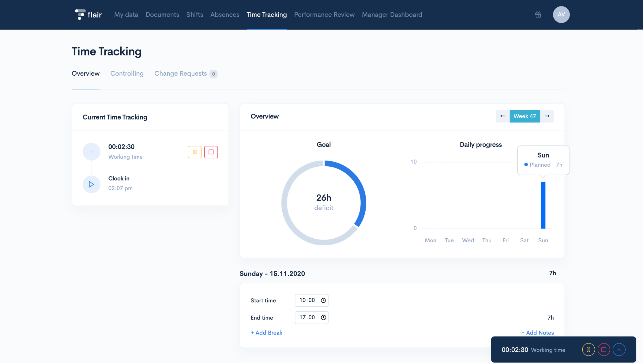 Enjoy a clear & elaborate time tracking interface with a daily and weekly overview of automated overtime compensation. Increase your company's success by tracking attendance, productivity, and efficiency with a simple time-tracker from flair!