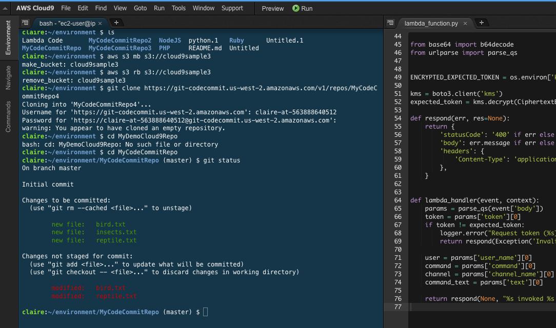 AWS Cloud9 lambda function
