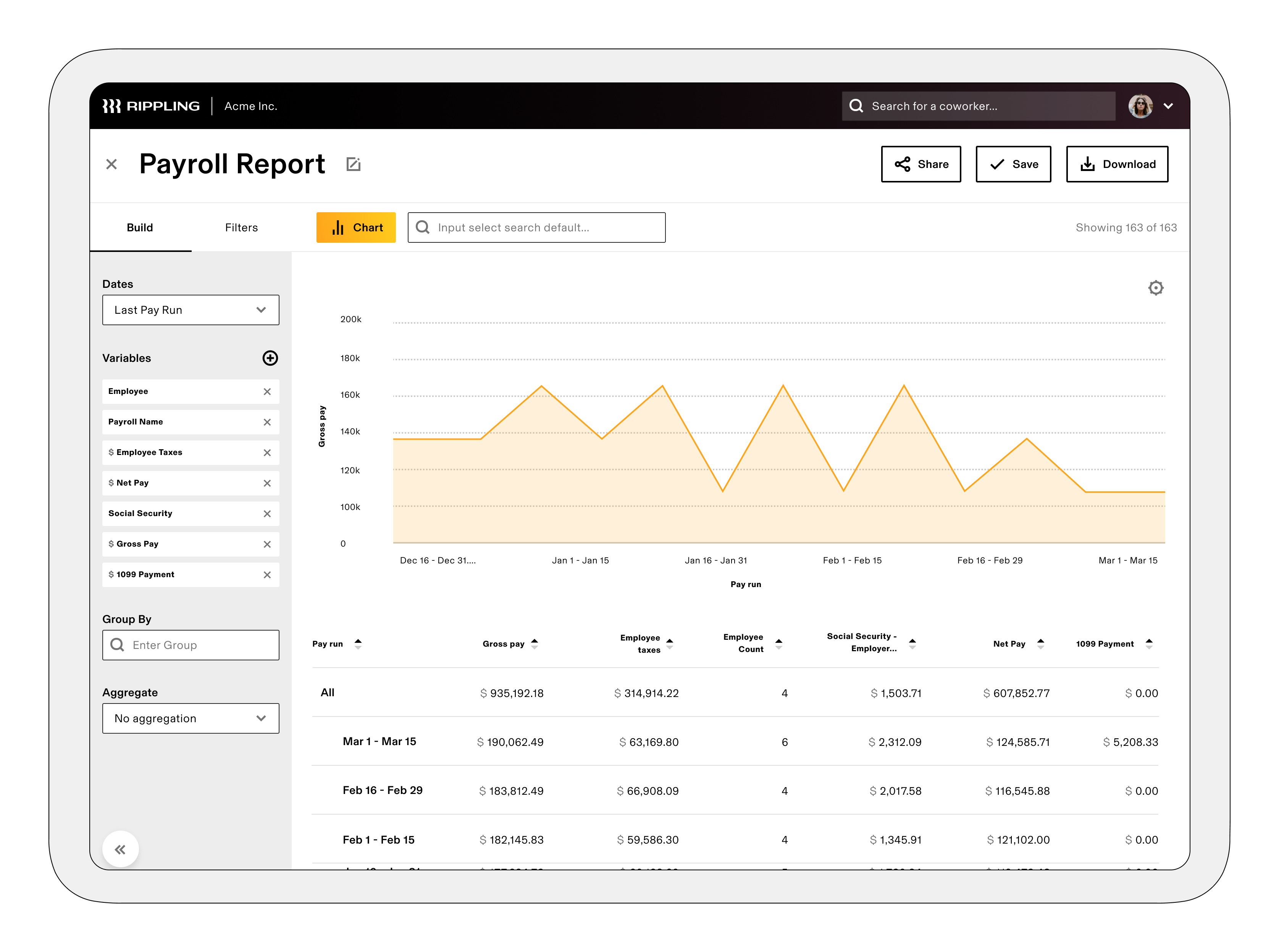 Reports & Graphs: Easily create any report imaginable, and visualize them with custom graphs. You can track compensation changes, employee turnover, workforce diversity, and more.