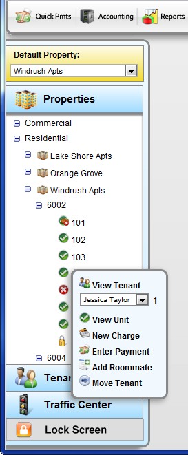 Total Management Software - Navigation tree