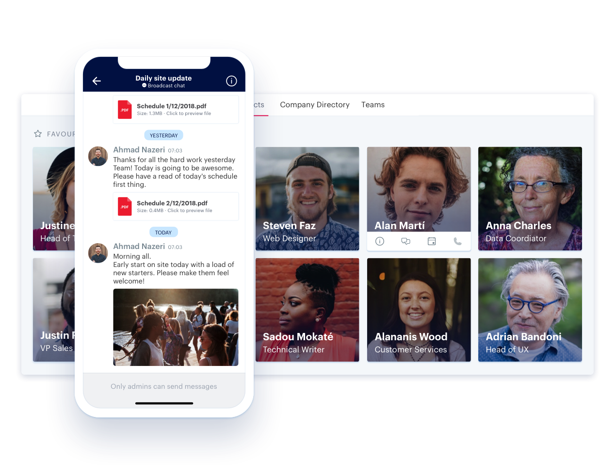 Blink's Directory, Direct & Group Messaging means you can reach anyone, anytime, without the need for email addresses or phone numbers. Co-ordinate disruption, identify and fix issues instantly, receive realtime updates and feedback from the frontline.