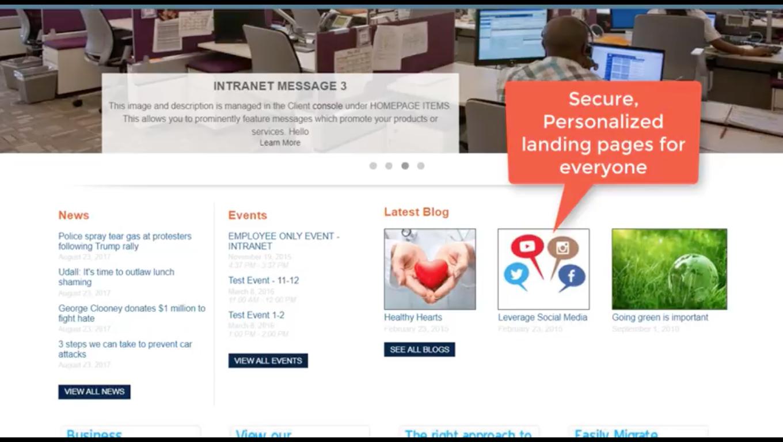 Centralpoint screenshot: Create custom landing pages