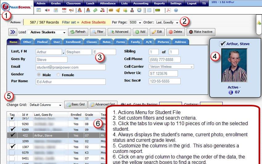 PraxiSchool Software - Dashboard