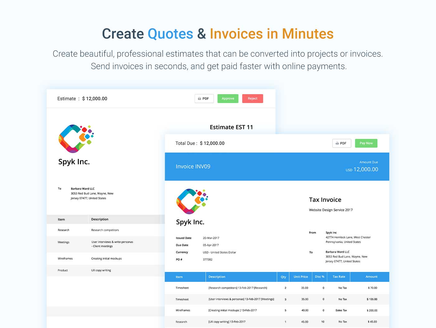 Send online quotes & invoices in minutes.