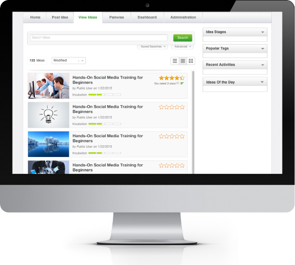 Spigit screenshot: Planview Spigit enables users to crowdsource ideas from their employees, partners, and customers