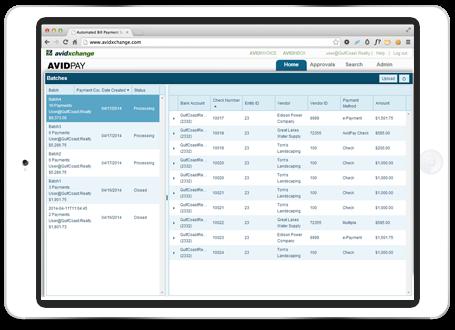 AvidXchange screenshot: AvidXchange allows users to pay vendors electronically