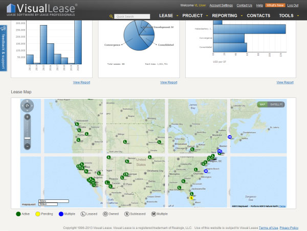 Visual Lease screenshot: Users can view a map of property locations in Visual Lease with color-coded icons for lease type and status