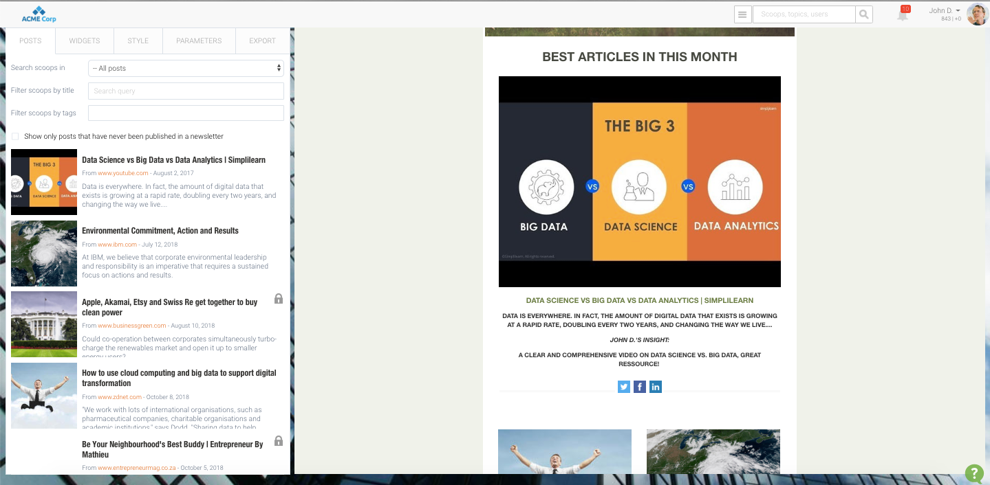 Create customized newsletters in minutes by dragging and dropping your best content