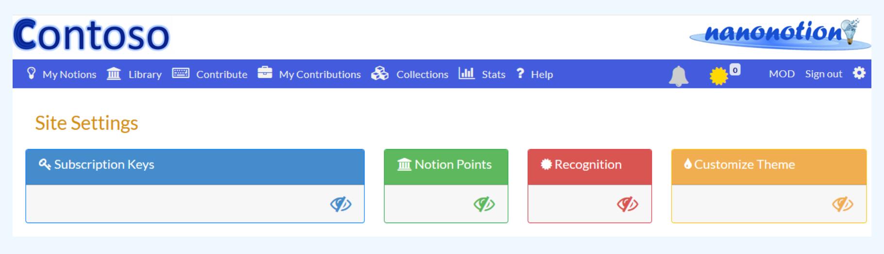 NanoNotion Software - Site settings