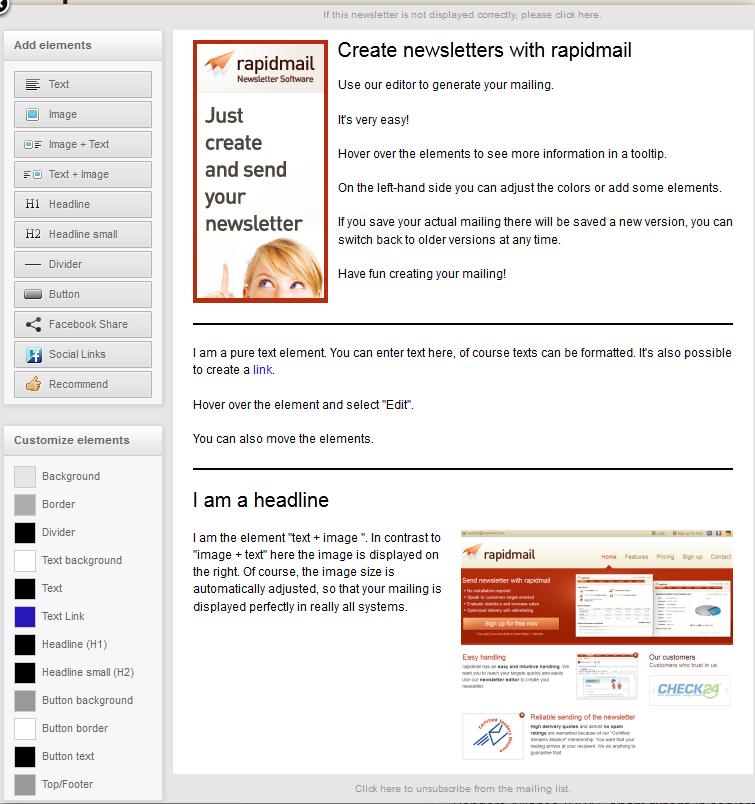 rapidmail screenshot