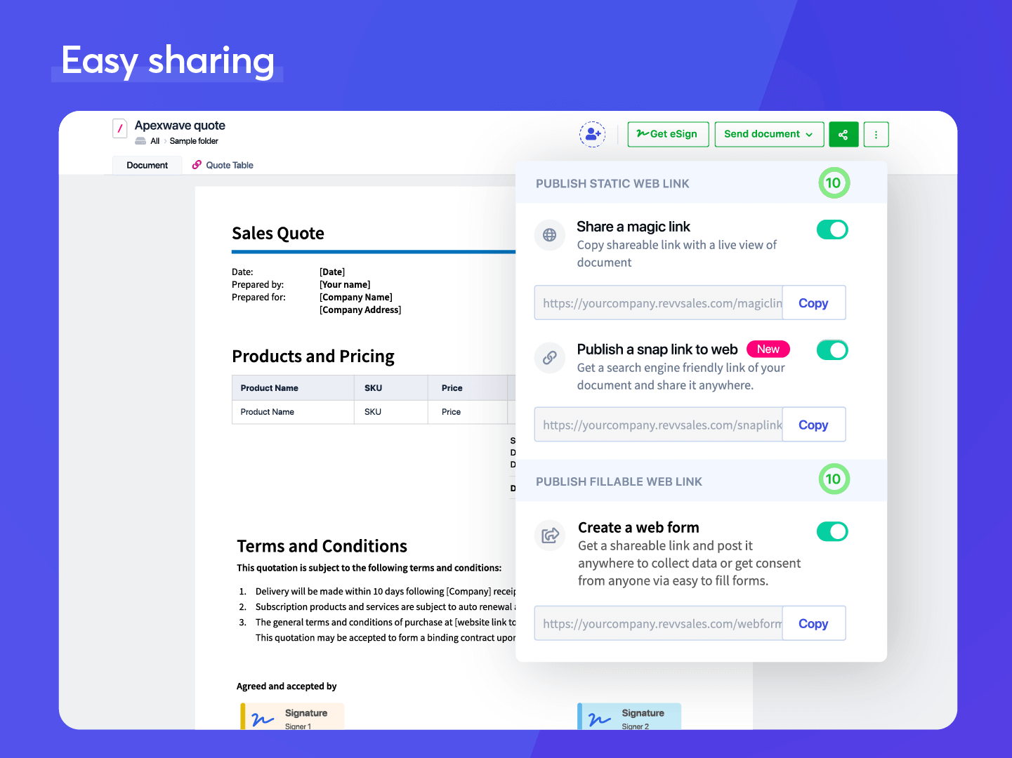 Revv Software - EASY SHARING - Multiple choices to share documents online via email, magic links (for live view of documents), snap links, and web forms.