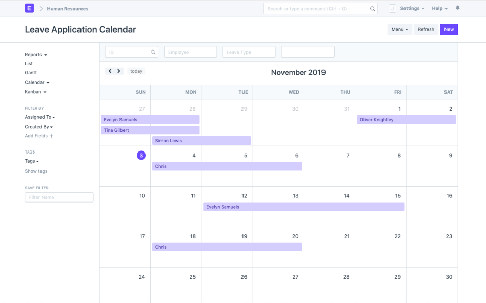 Calendar views