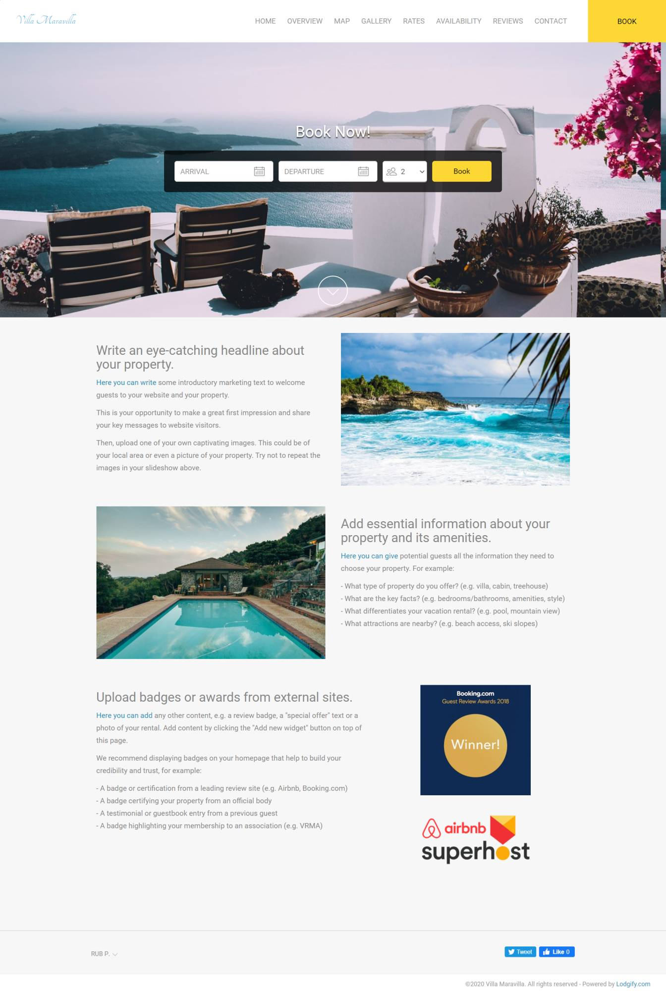 Lodgify screenshot: Vacation rental website template