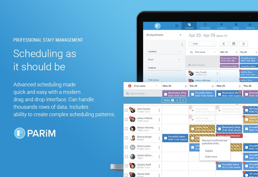 PARiM screenshot: Professional Scheduling Tools
