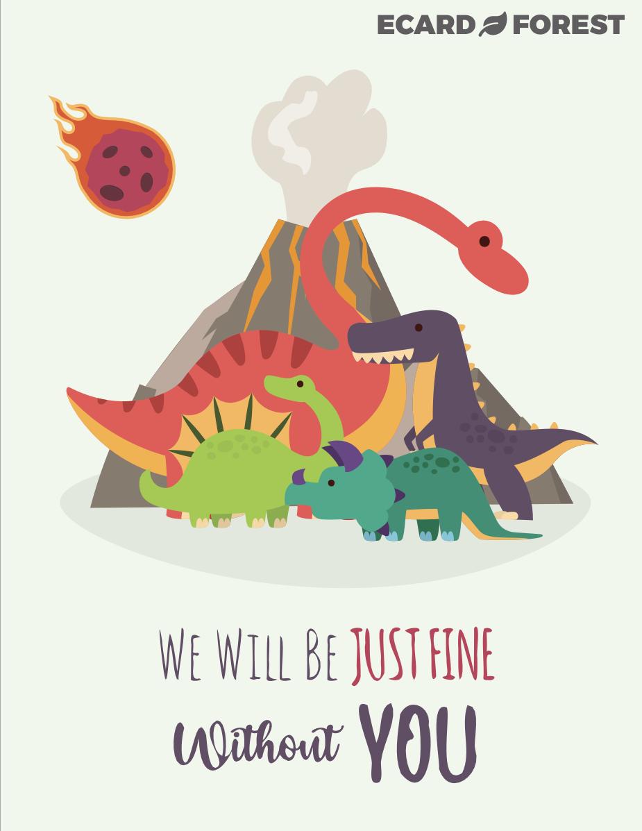 Farewell group ecard with dinosaurs