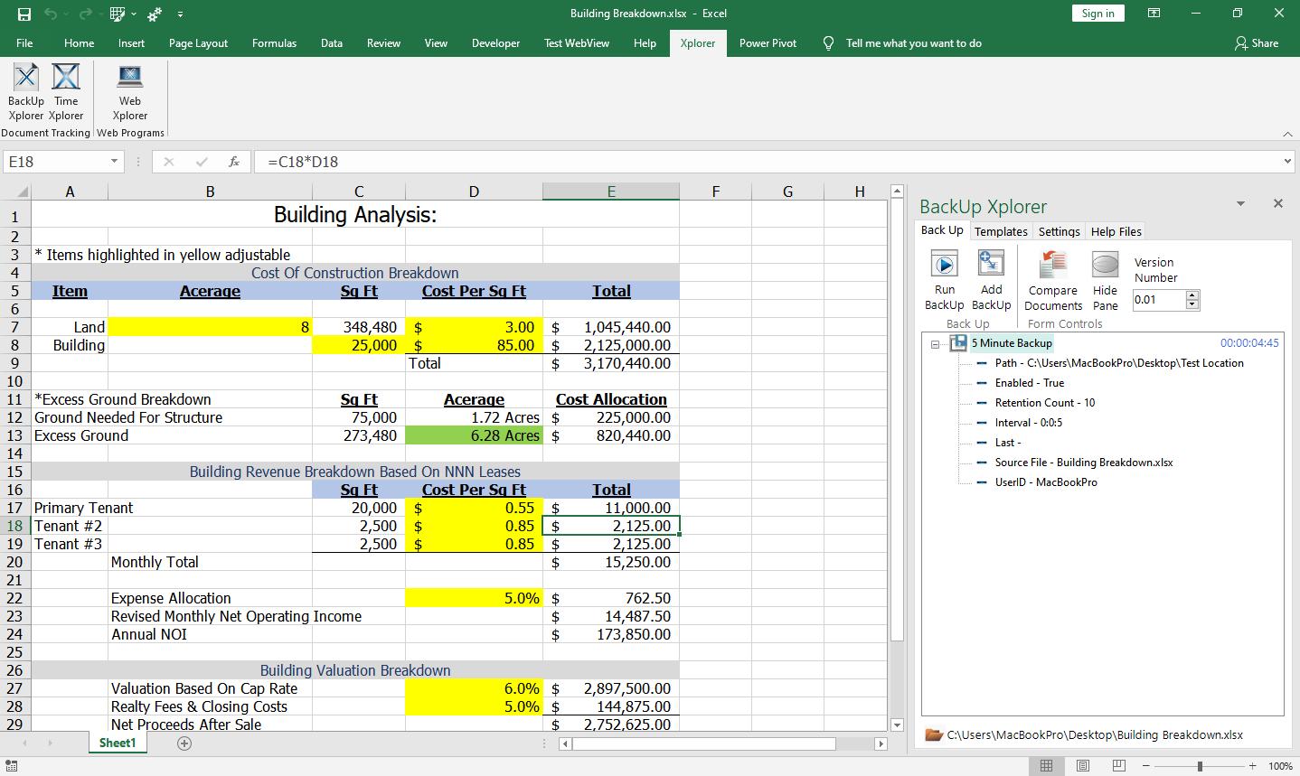Task pane with Backup Xplorer shown in Microsoft Excel.