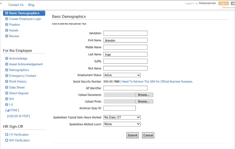Toast Payroll & Team Management Software - Basic demographics