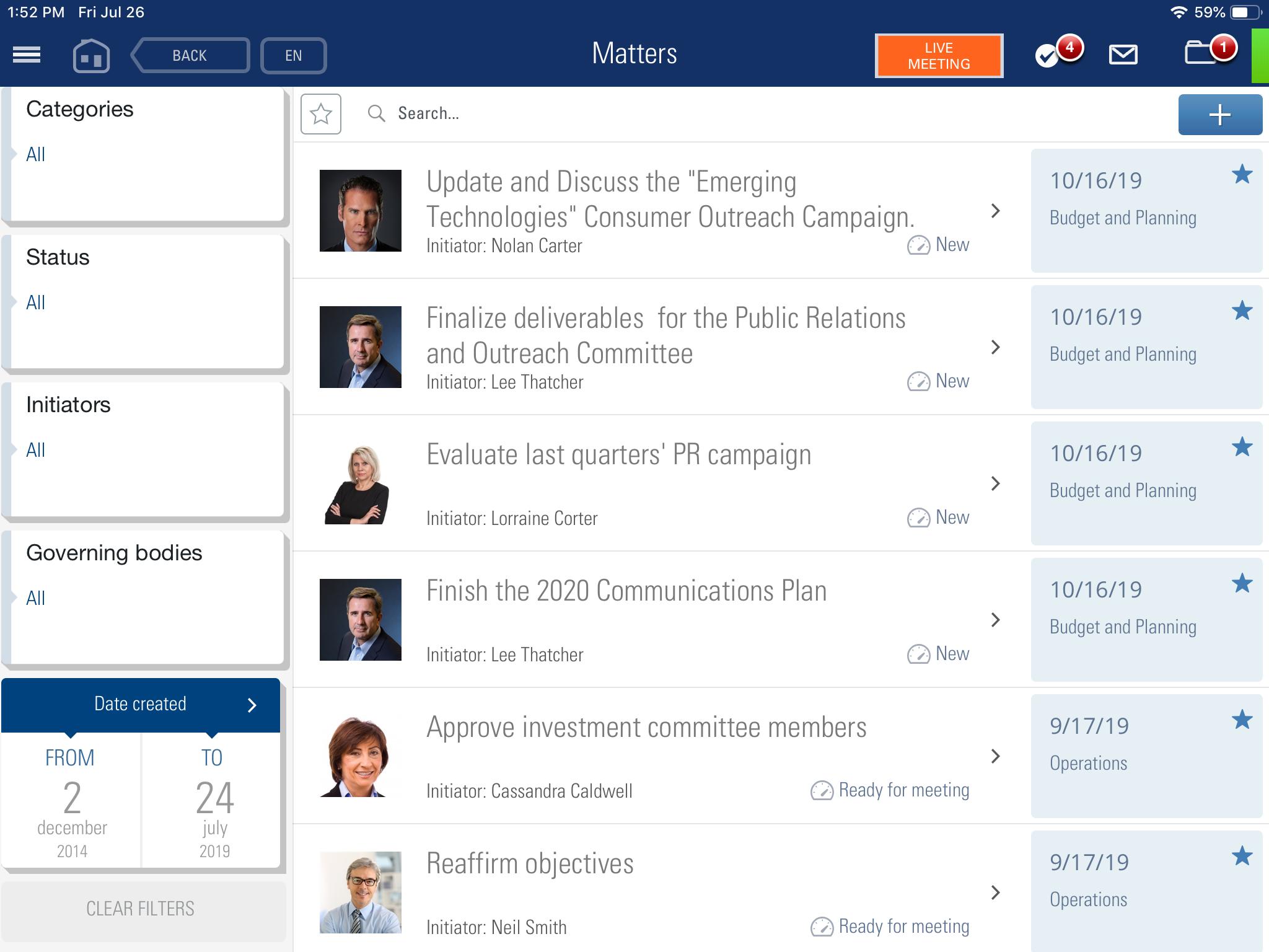BoardMaps Software - BoardMaps meeting matters screenshot