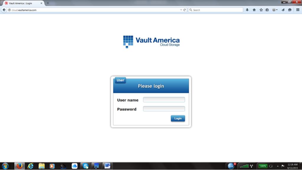 Vault America Online/ Cloud Backup Software - Login Page