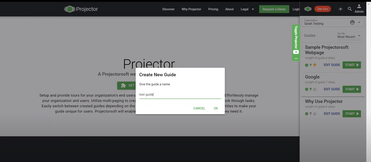 Projector Software - Projector create new guides