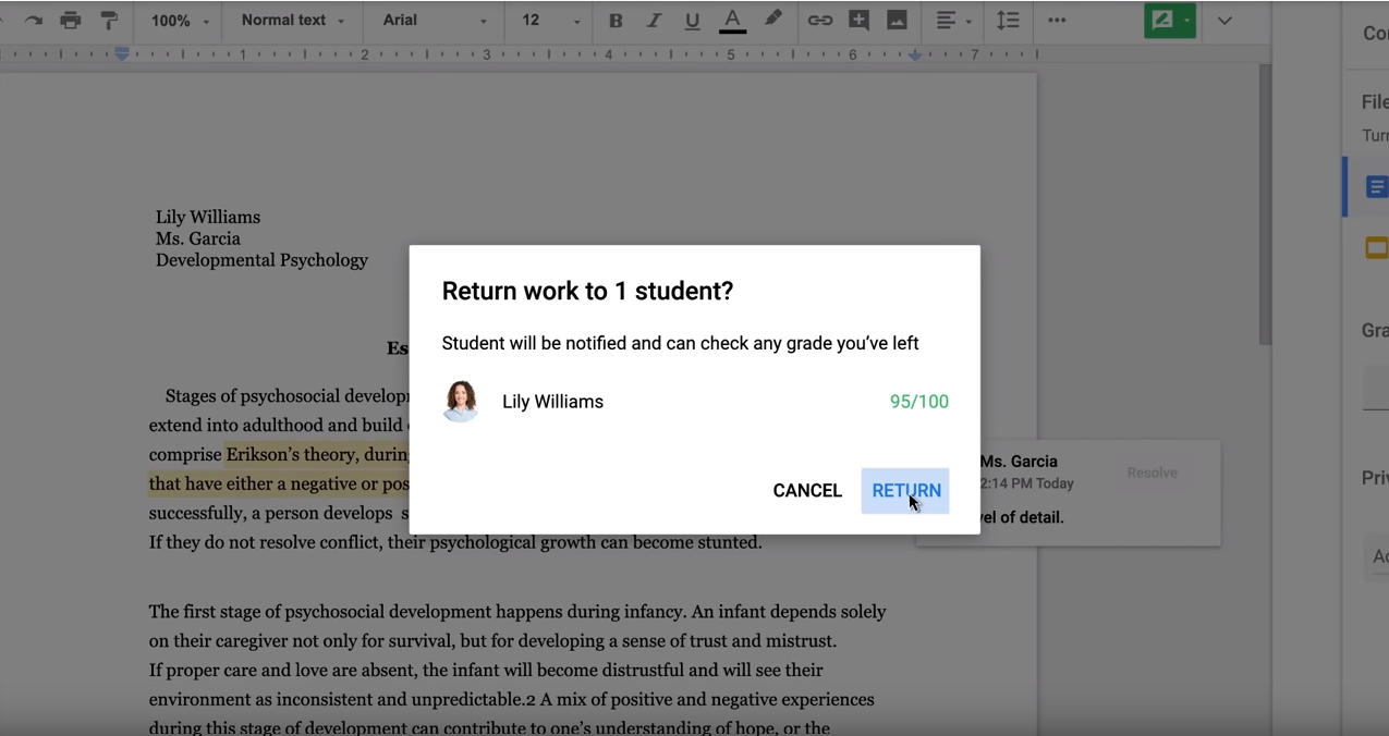 Google Classroom grading submission