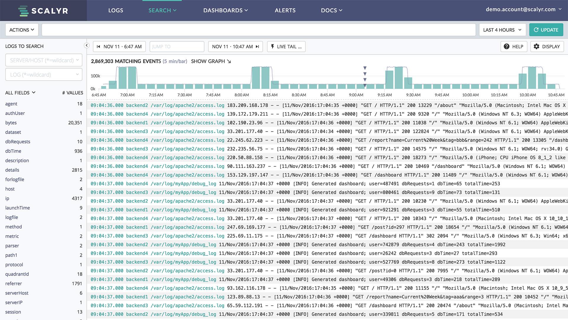 Scalyr log monitoring and aggregation
