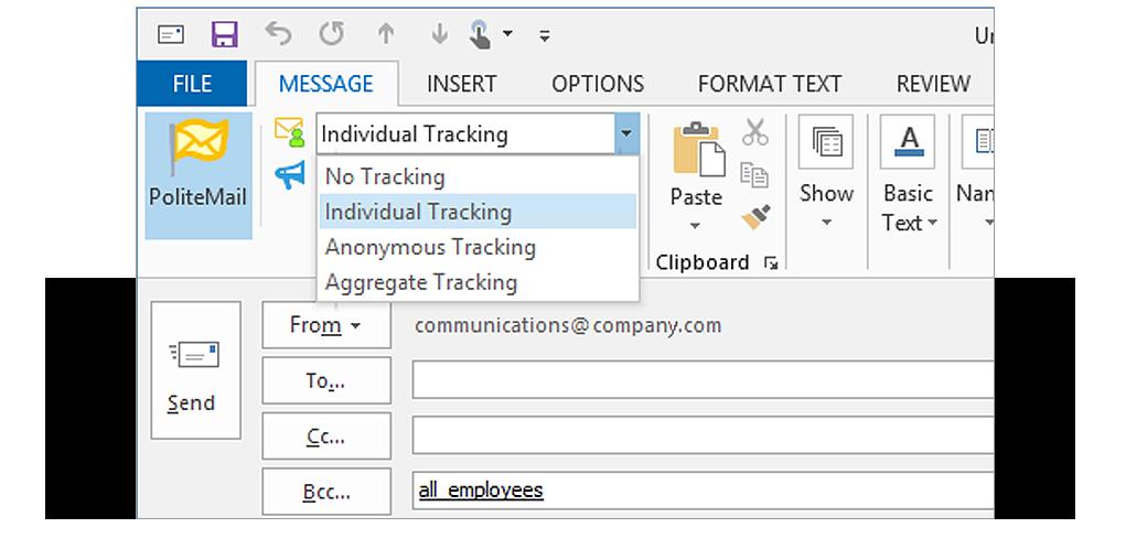 PoliteMail email tracking screenshot