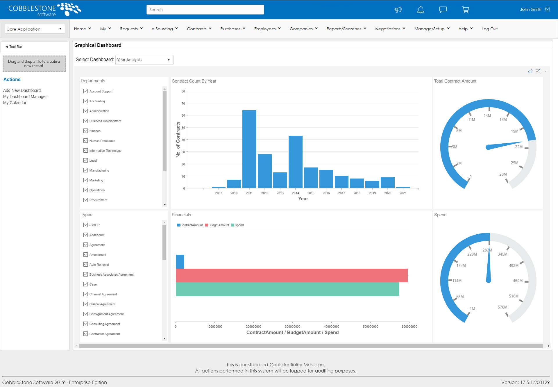 Contract Management Software Dashboard