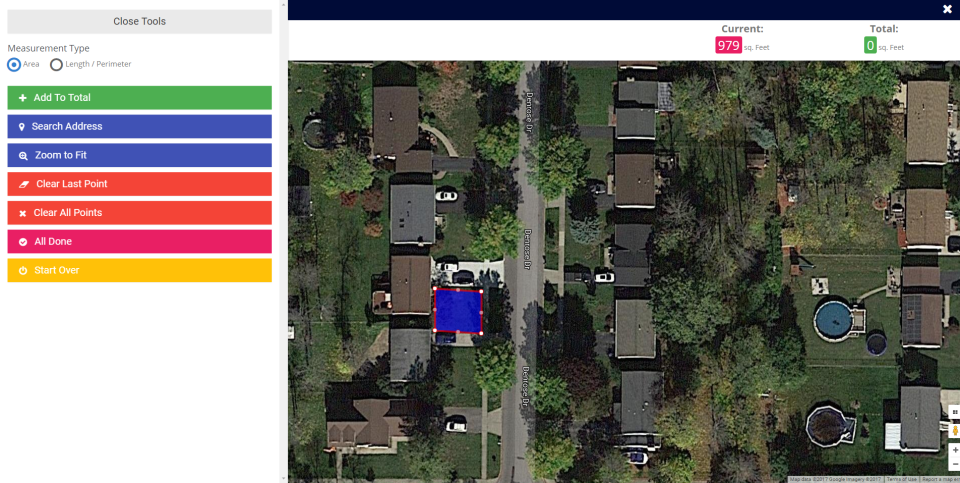 Search and measure properties by area or perimeter