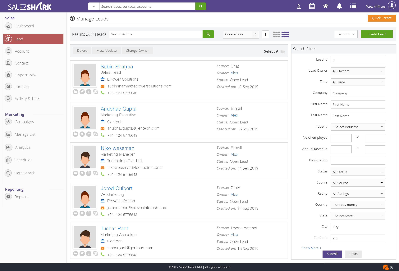 SalezShark Software - Lead Management