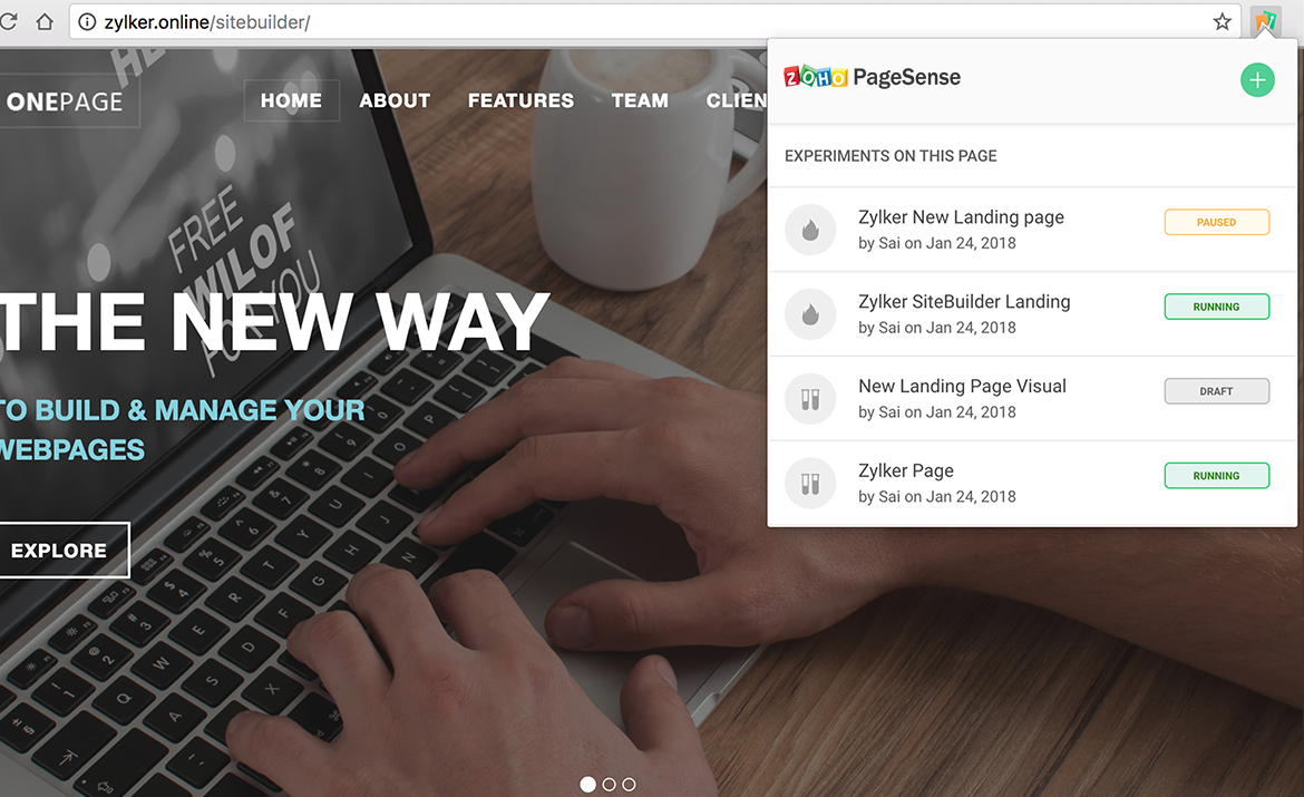 Zoho PageSense provides a Chrome extension to experiment with various pages