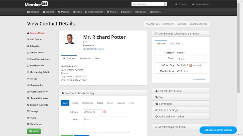Member365 Software - Contact record
