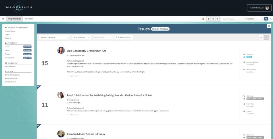 Centercode issue tracking screenshot