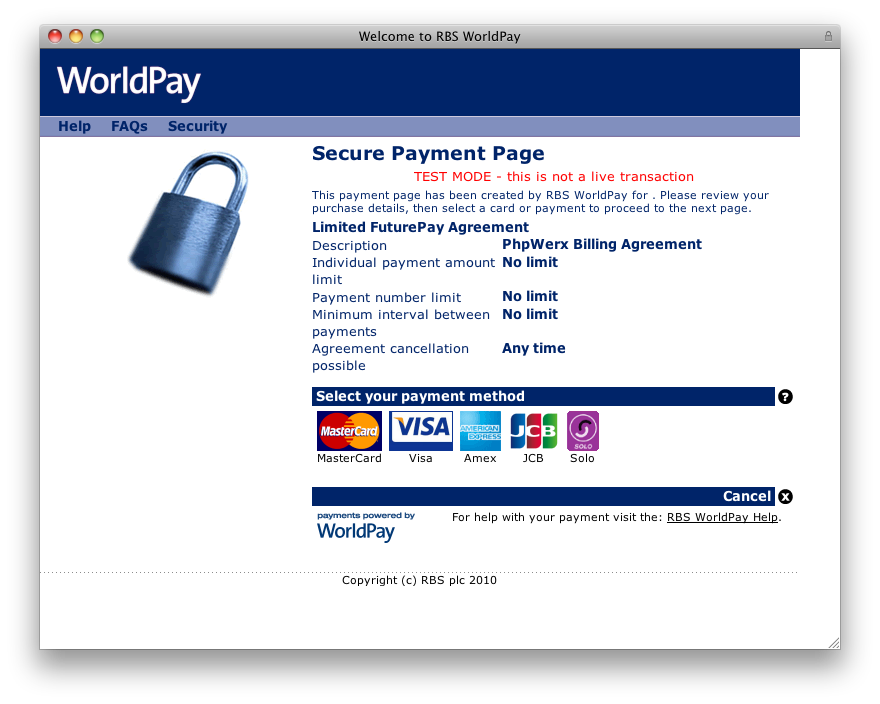 Worldpay screenshot: Worldpay's secure payment page