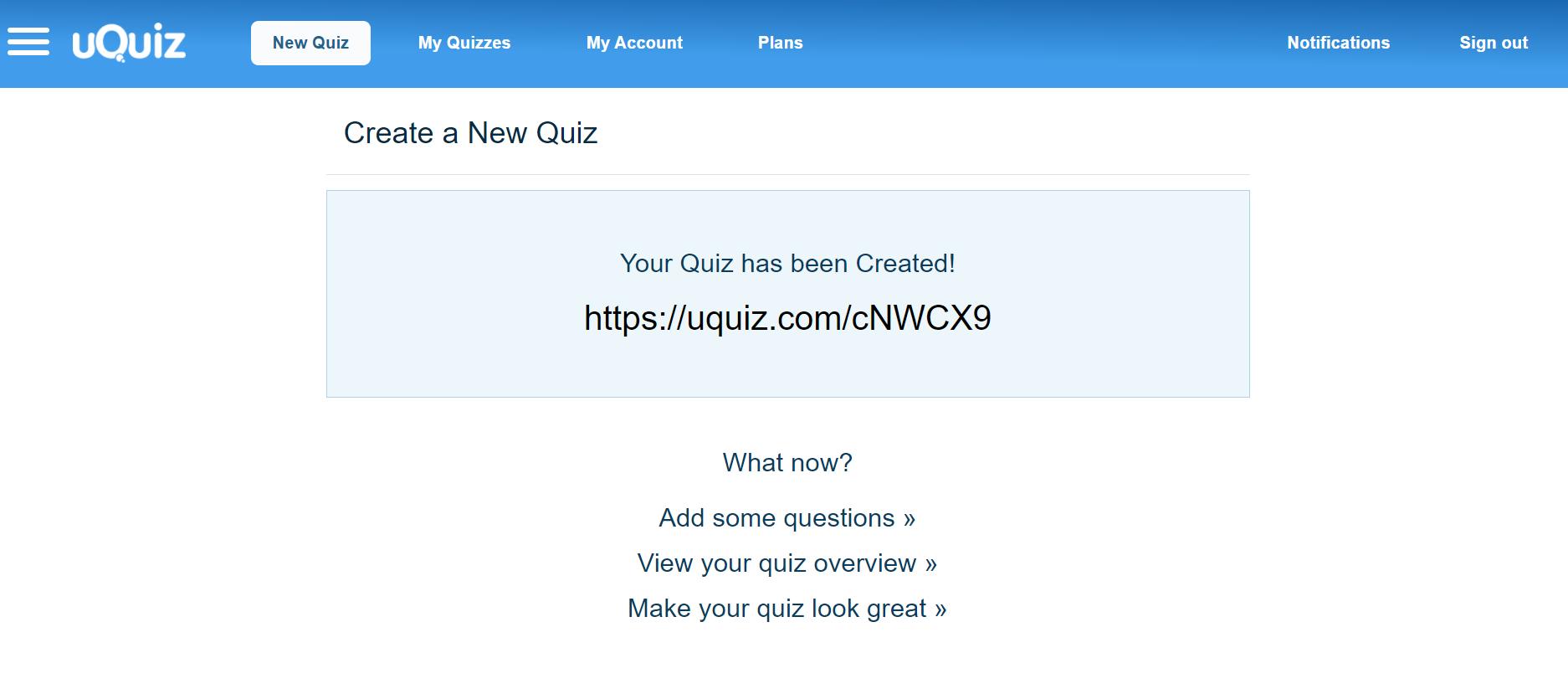uQuiz custom URL