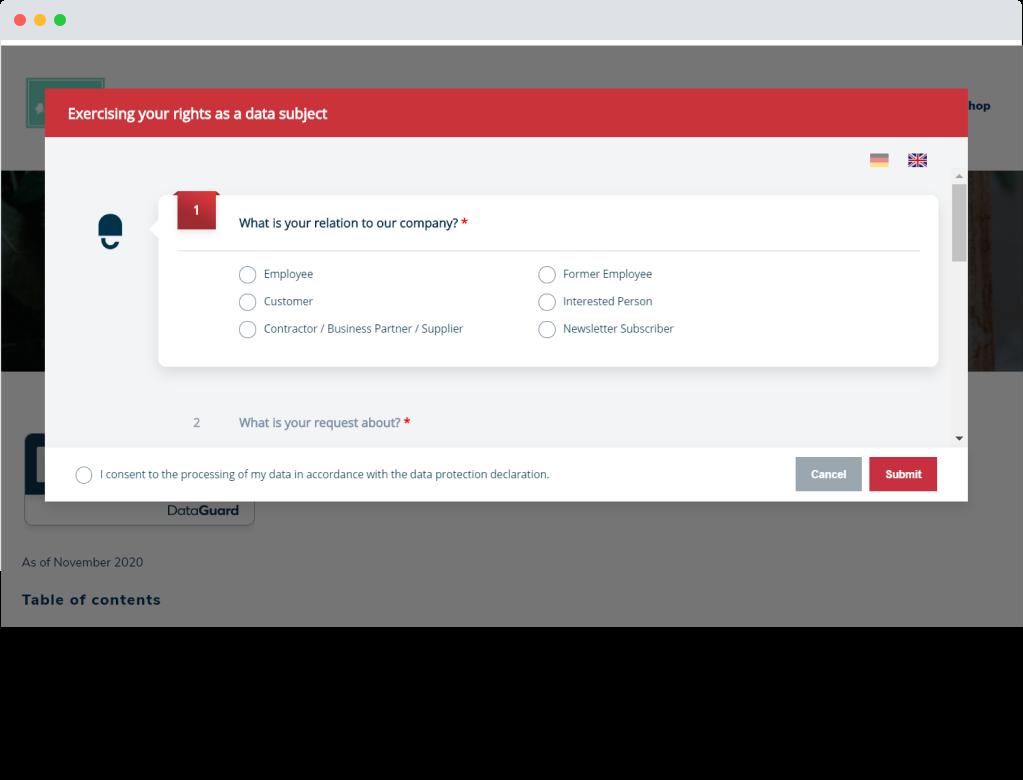 DataGuard data subject request website form