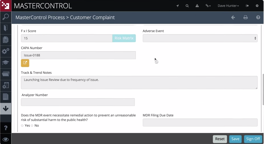 A validated customer complaint can be used to launch issue review processes