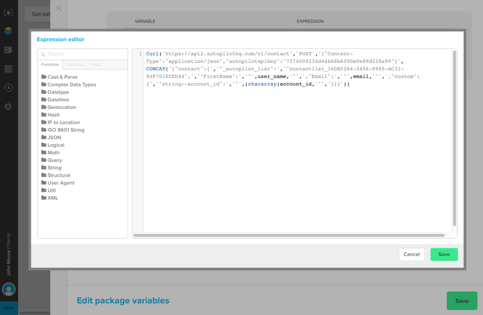 Use Xplenty's rich expression language, advanced API, and webhooks to customize and extend the platform