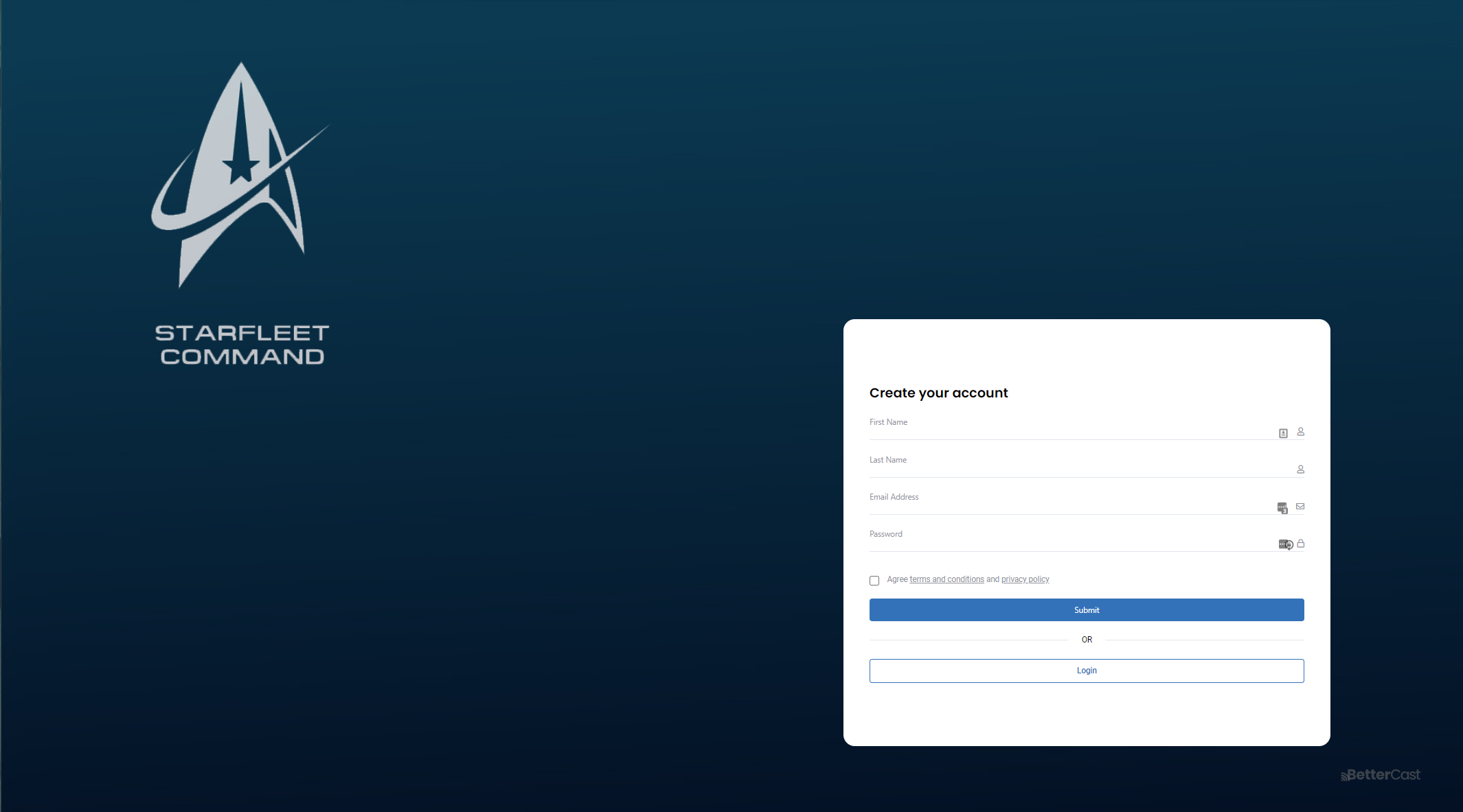 Bettercast screenshot: Bettercast supports multiple access methods for your guests. Either let Bettercast manage your ticket sales, you manage and provide Coupon access or we can provide free access.